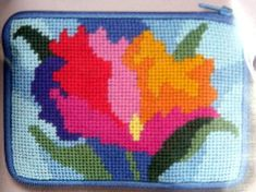 Needlepoint Stitch & Zip Coin Purse - Watercolor Poppies