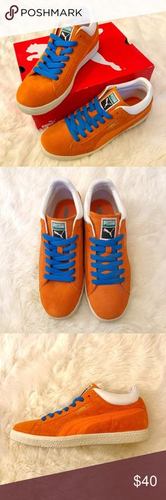 Puma Stepper: Golden Poppy/Russet Orange NWB (new with box) Never been worn other than trying them on indoors (on carpet). Fresh blue laces compliment the shoe's bold color way, you can rock these with jeans or joggers! Great addition for a sneaker head! Puma Shoes Sneakers