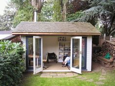 Traditional garden office 4.2m x 3m deep - pitched cedar shingle roof. Customer installed a wood burner (we have 4.7m x 3m space)