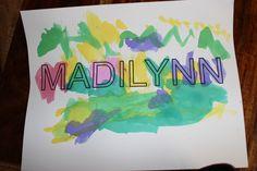 Preschool Craft. Watercolor Name.