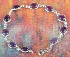 Personalised Bracelets – Healing Amethyst Gems Silver Bracelet BJB-119-AM – a…
