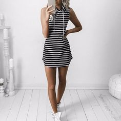 Hoodie Stripped Dress