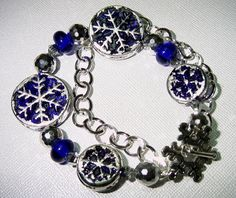 Blue Christmas Silver Snowflake Double Strand Lampwork and Crystal Bracelet - Free Earrings