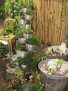 Recycled pots and pans.