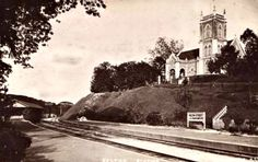 1930 Picture Postcard with view of the Sultan Street railway tracks (near the former Sultan Street Railway Station, KL) with the Wesley Methodist Church on top of the hill at the background right.
