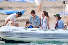 Princess Caroline of Monaco with her older daughter Charlotte Casiraghi, Charlotte's Significant Other Dimitri Rassam, and Charlotte's son Raphael.   On Holiday, St Tropez, July 2017.
