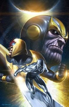 Thanos, Nova, and Surfer by Brian Valeza