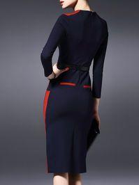 Slit Paneled Midi Dress with Belt