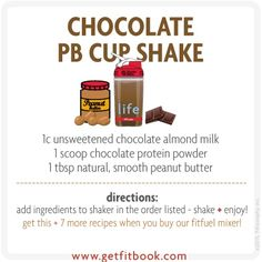 fuel up on this chocolate #peanutbutter cup shake after your workout.  3 ingredients + packed with protein and #healthy fats! #livelifefit