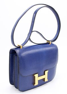 """Hermes Constance 18cm Bleu Sapphire Lizard Skin GHW 