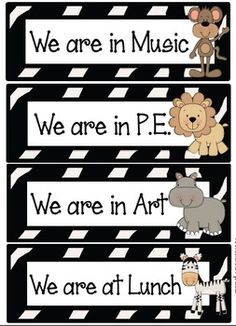 Jungle/Safari Theme!  These labels can be used to create a poster that shows others where your class is when you leave the classroom.