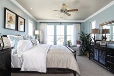 Master bedroom, light blue, white and black = relaxing.  #KellerHomes