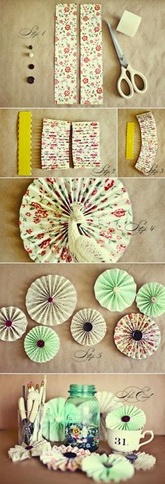 DIY pinwheels- I made about of these for the wedding (then threw them all away because they looked odd in the barn). They are SUPER easy just kind of Time consuming (depending on how many you make). Crafts To Sell, Diy And Crafts, Arts And Crafts, Paper Rosettes, Paper Flowers, Diy For Kids, Crafts For Kids, Craft Tutorials, Diy Projects