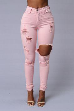 Glistening Jeans - Light Pink