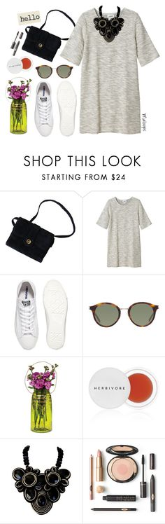"""""""~Honey you are a rock and I am your land and we will grow~"""" by maloops ❤ liked on Polyvore featuring Monki, Converse, Yves Saint Laurent, Cultural Intrigue, Herbivore, dress, sneakers, Spring2017 and SNEAKERSANDDRESSES"""