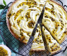 Passionfruit tart with orange mascarpone cream recipe - By Australian Women& Weekly, Indulge in this delicious tart complete with crumbly pastry, a creamy passionfruit filling and zesty orange mascarpone cream on top. Passionfruit Tart, Passionfruit Recipes, Tea Cakes, Mini Cakes, Mascarpone Cream Recipe, Mascarpone Cake, Tart Recipes, Dessert Recipes, Australian Desserts