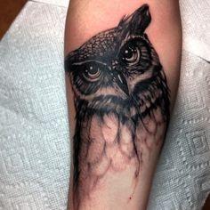 ryan murphy tattoo owl tattoo realistic black and grey tattoo # Tattoo Designs Feather Tattoos, Leg Tattoos, Arm Tattoo, Body Art Tattoos, Tatoos, Circle Tattoos, Trendy Tattoos, Small Tattoos, Tattoos For Guys