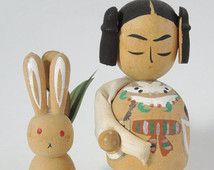 Poupée kokeshi Vintage Ref0304C, « Lièvre de Inaba » 2
