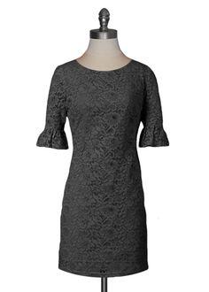 Vintage Lace Shift Dress in Black