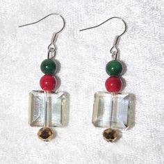 Earrings  Bauble  Glass and Gemstones  Free UK P&P by KasumiCrafts