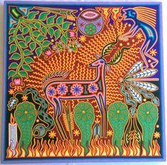 23.5 Mexican Huichol Deer and and Kieri yarn painting by Aramara