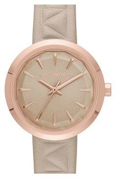 Karl Lagerfeld 'Belleville' Leather Strap Watch, 31mm