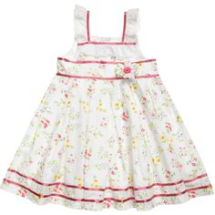 Powell Craft White Floral Cotton 'Amy' Dress at Childrensalon.com