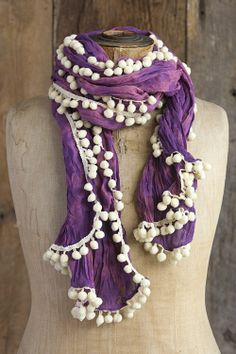 Tie-Dye Pompom Scarves From Natural Life