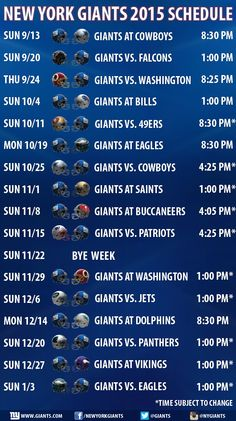 New York Giants 2015 Schedule Announced. Futebol AmericanoTemporada ... faca399679f2b