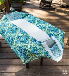 Easy Ways to Make Indoor and Outdoor Chair Cushion Covers Chair Cushion Covers, Outdoor Cushion Covers, Making Cushion Covers, Box Cushion, Outdoor Chair Covers, Patio Chair Cushions, Diy Chair, Reupholster Outdoor Cushions, Camper Cushions