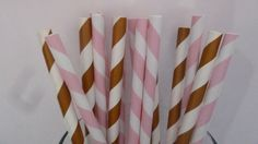 50 Pink and Brown Country Girl Party Paper Straws- Mixed Pink and Brown Striped…