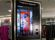 In February 2011, JC Penney, the US department store, rolled out its findmore service to 120 stores across the US. In-store, 42 inch touch screens allow shoppers to view the retailer's full online catalog, check inventory levels in local stores, share products with friends and scan product bar codes to receive extra information and complementary product recommendations.