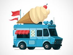 Icecream Truck designed by Graham Erwin. Connect with them on Dribbble; the global community for designers and creative professionals. New Jeep Truck, Small Truck Camper, Small Trucks, Old Trucks, Fire Trucks, Monster Truck Birthday, Monster Trucks, Fire Truck Craft, Truck Bed Liner