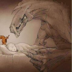 'Why you should always #sleep with a #Teddy #bear. Because he's not our #hero. He's a silent #guardian a watchful #protector. A #dark #knight.' image of #Begemott