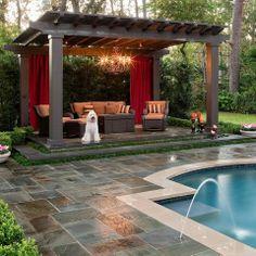 Beautiful Landscape Design of Pool Pergola to Enjoy with Sunbath ...
