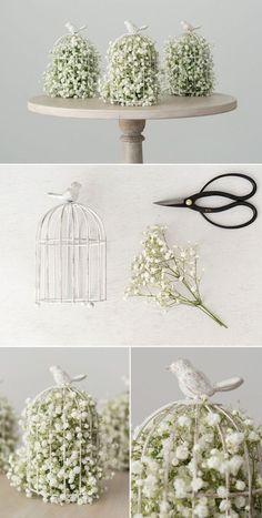 DIY Bird Centrepiece with Baby's Breath and Birdcage | Confetti.co.uk