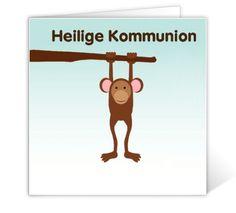 Kommunionskarte Affe