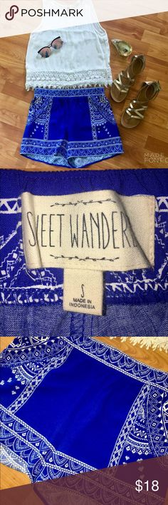 Adorable printed shorts! 💙💙💙 Super cute blue and white shorts with unique design! It's a size small from the brand Sweet Wanderer, and purchased from Bella Bella Boutique. Work once or twice, and just like new! No stains or pulls. 100% rayon. Sweet Wanderer Shorts