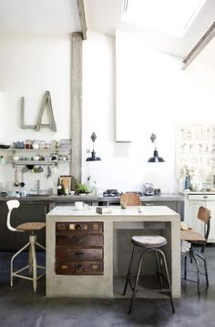 kitchen looks like industrial office. love.