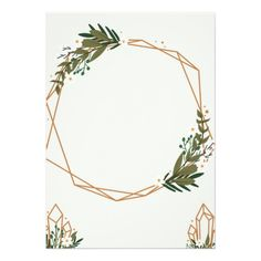 Geometric frame with bouquets card