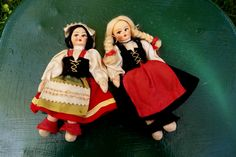 Vintage Pair of Mandmade Cloth Souvenir Dolls from Europe. $19.00, via Etsy.