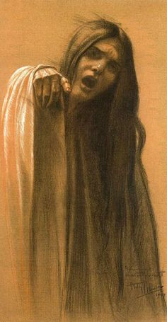 Carlos Schwabe, study for The Wave  ( other creepy studies at this link)