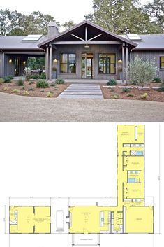 This ranch style home is absolutely amazing. It is built using metal construction so this house is not only very beautiful but durable too. Size of this ranch style home … Metal House Plans, Lake House Plans, Ranch House Plans, New House Plans, Modern House Plans, Small House Plans, Pole Barn House Plans, Shop House Plans, Metal Barn Homes