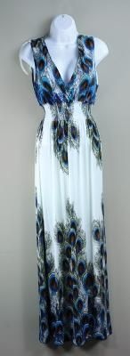 "Gorgeous Full-Length Sexy Bohemian Maxi Dress : Peacock / Blue 40"" Bust Size."