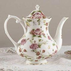 Rose Chintz Porcelain Tea Pot Teapot 8.5
