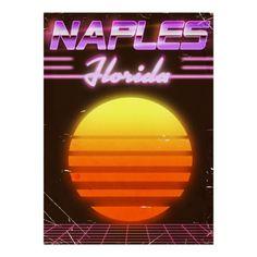 Naples Florida 1980s travel poster