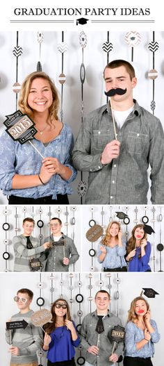 Graduation Photo Booth Props - Black and Gold Decorations from BigDotOfHappiness.com