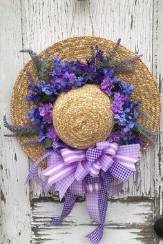 Spring Lavender Straw Hat Wreath by GiGisHandmadeWreaths on Etsy
