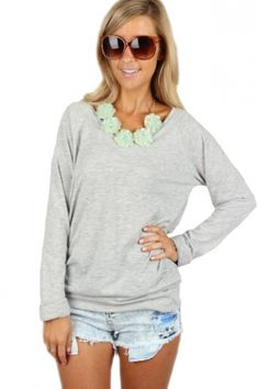 Grey V-Neck Long Sleeve Tee $14.99 #casual #chic #vneck #fall #fashion #layering #piece #sophieandtrey