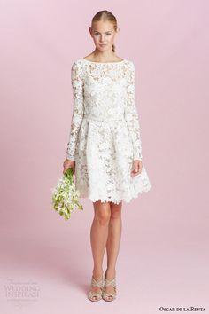 oscar de la renta bridal fall 2015 long sleeve guipure lace short wedding dress